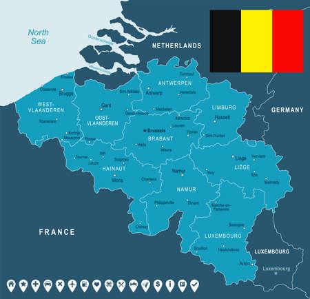 België kaart en vlag - vector illustratie
