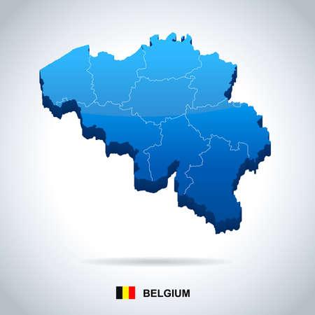 ベルギー地図とフラグ - ベクトル図