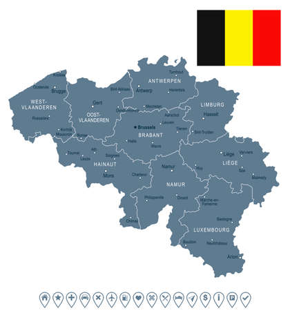 Belgium map and flag - vector illustration