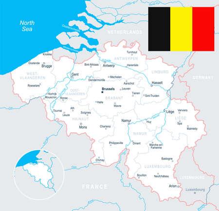 Brussels, Antwerp, Gent, Bruges map and flag - vector illustration