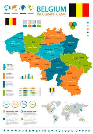 Belgium infographic map and flag - vector illustration