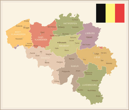 Belgium vintage map and flag - vector illustration
