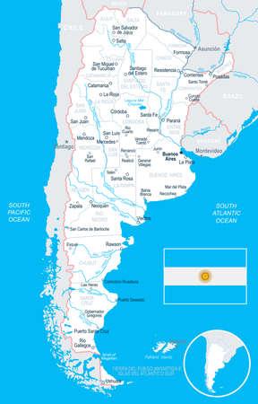 アルゼンチン地図とフラグ - ベクトル図