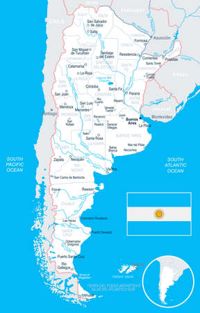 aires: Argentina map and flag - vector illustration Illustration