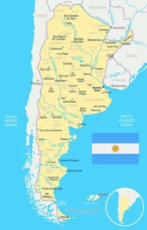 アルゼンチン地図とフラグ - ベクトル図 写真素材 - 82079697