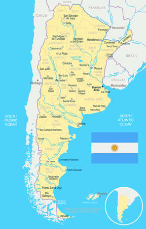 Argentina map and flag - vector illustration Ilustrace
