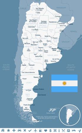 アルゼンチン地図とフラグ - ベクトル図 写真素材 - 82079699