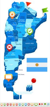 Argentina map and flag - vector illustration Illustration