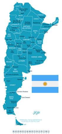 アルゼンチン地図とフラグ - ベクトル図 写真素材 - 82079702