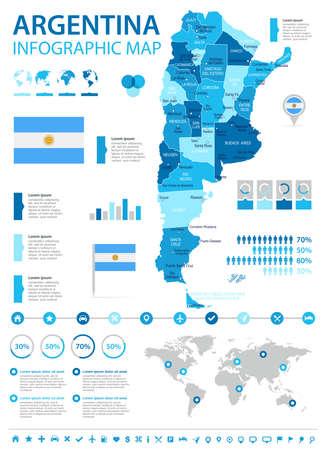 アルゼンチン インフォ グラフィック マップとフラグ - ベクトル図  イラスト・ベクター素材