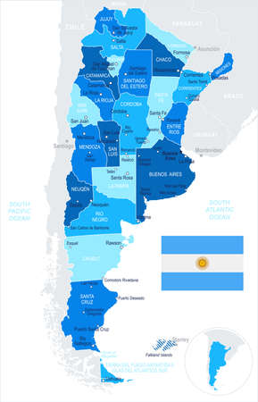 Argentina map and flag - vector illustration Illustration