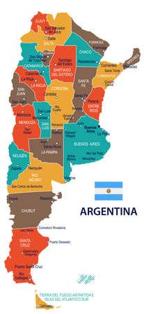 Argentinië kaart en vlag - vector illustratie Stock Illustratie