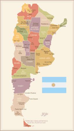アルゼンチン ビンテージ マップとフラグ - ベクトル図  イラスト・ベクター素材