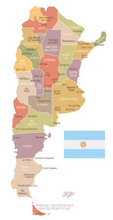 Argentina vintage map and flag - vector illustration