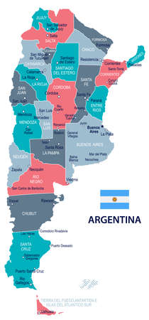 Argentina map and flag - vector illustration 向量圖像