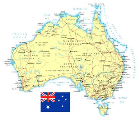 オーストラリアの国旗大の詳細な道路地図。 写真素材 - 82189776