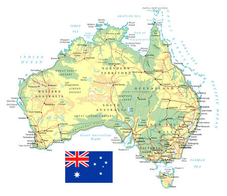 Large detailed road map of Australia and national flag.