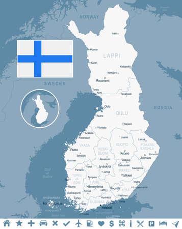Finland map and flag - vector illustration