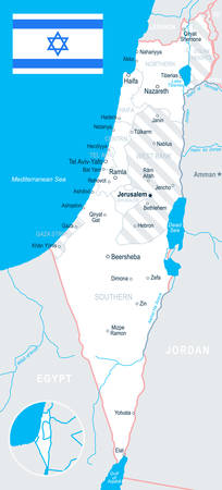 ashdod: Israel map and flag - vector illustration Illustration