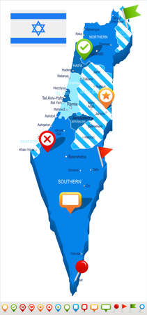 Israel map and flag - vector illustration Illustration