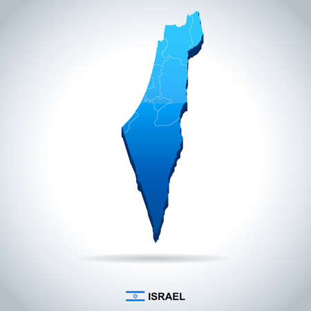 Israel map and flag - vector illustration Imagens - 82620912
