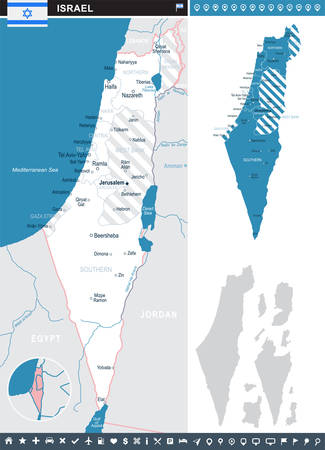 aviv: Israel infographic map and flag - vector illustration