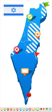 Israel map and flag - vector illustration Çizim