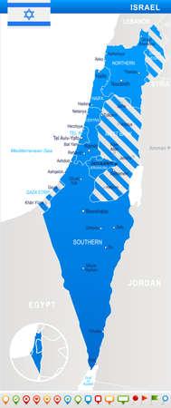 Israel map and flag - vector illustration Illustration