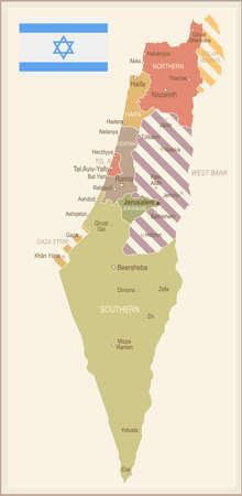 Israel vintage map and flag - vector illustration