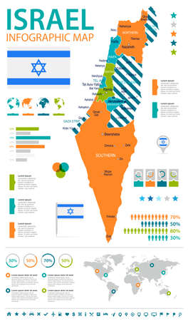 Israel infographic map and flag - vector illustration
