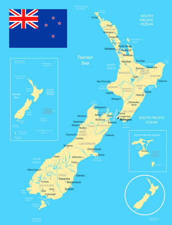 New Zealand map and flag - vector illustration Çizim