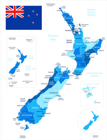 New Zealand map and flag - vector illustration Ilustração