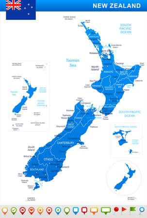 New Zealand map and flag - vector illustration Ilustração
