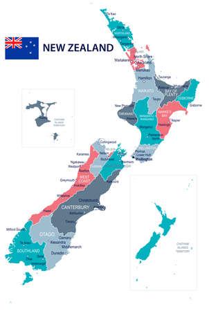 De kaart en de vlag van Nieuw Zeeland - vectorillustratie