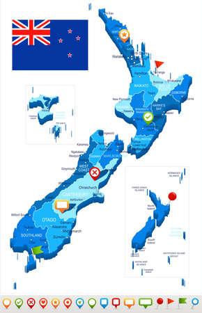 뉴질랜드지도 및 플래그 - 벡터 일러스트 레이 션 일러스트