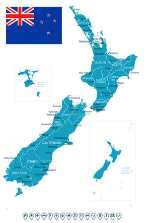 뉴질랜드지도 및 플래그입니다.