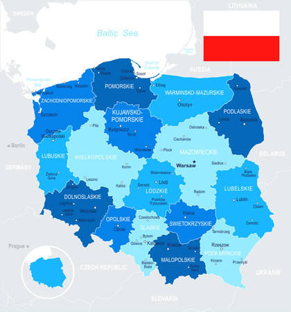 Poland map and flag - vector illustration