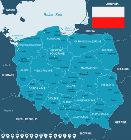 Polen kaart en vlag - vector illustratie