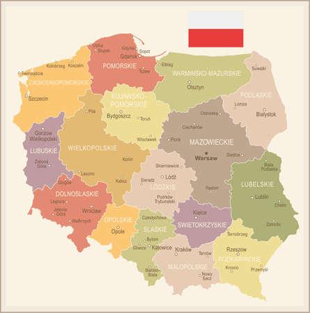Poland vintage map and flag - vector illustration