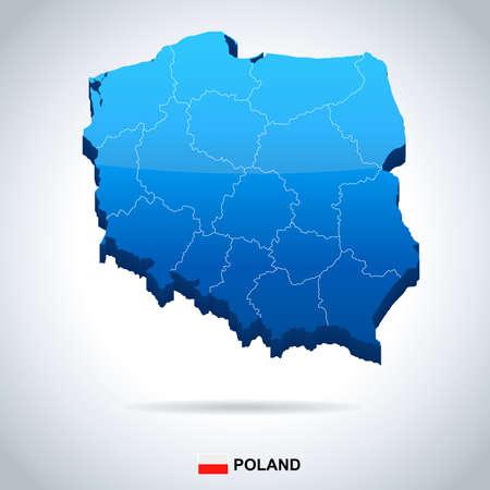 Mapa Polski i flaga - ilustracji wektorowych
