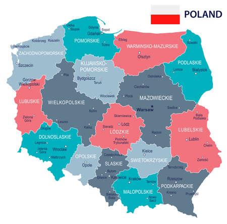 ポーランドの地図と国旗のイラスト。  イラスト・ベクター素材