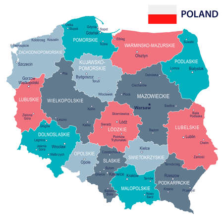 Polen kaart en vlag illustratie. Vector Illustratie