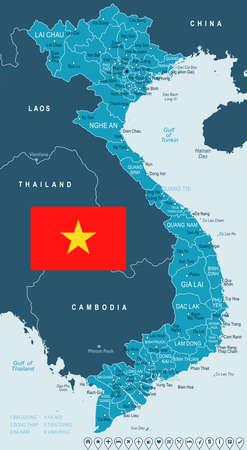 ベトナム地図およびフラグ - ベクトル図  イラスト・ベクター素材