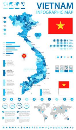 ベトナム インフォ グラフィック マップとフラグ - ベクトル図  イラスト・ベクター素材