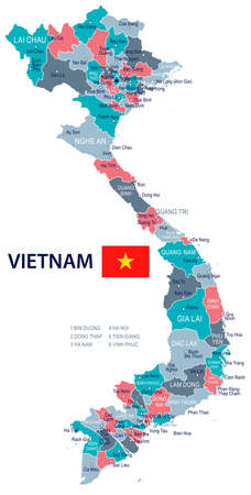 Vietnam map and flag - vector illustration