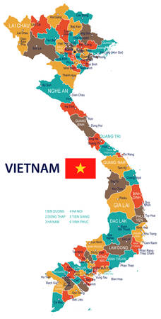 Vietnam map and flag - vector illustration