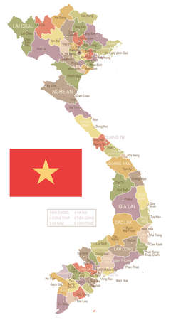 Vietnam vintage map and flag - vector illustration