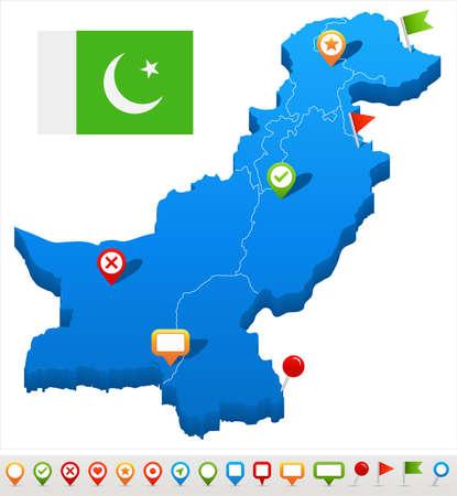 Pakistan kaart en vlag - vectorillustratie