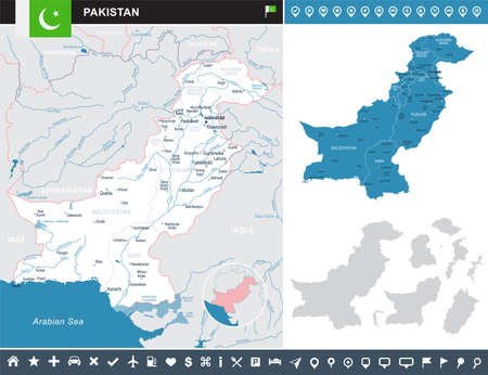 islamabad: Pakistan infographic map and flag - vector illustration Illustration