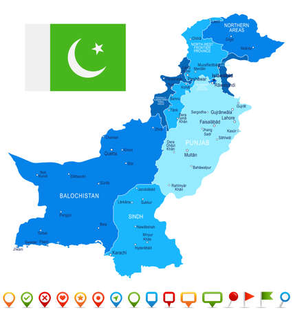 Pakistan map and flag - vector illustration